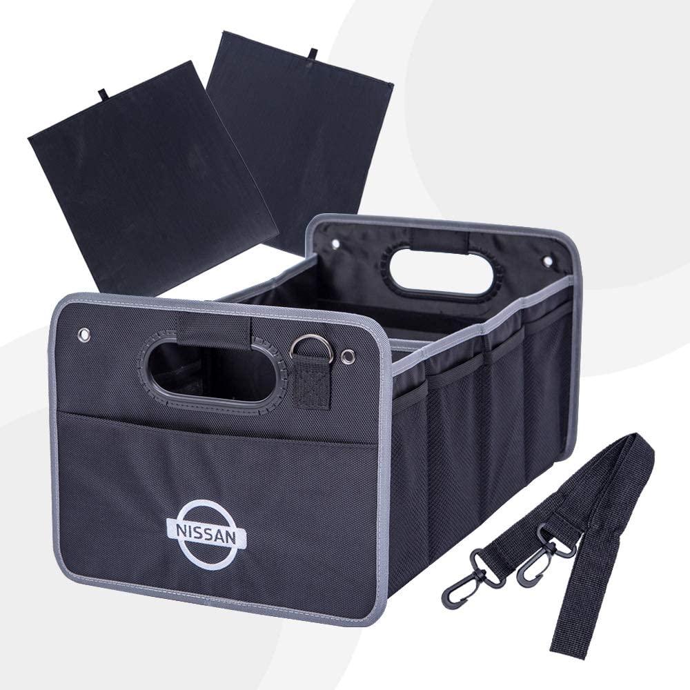 Portable Car Trunk Storage Organizer - Collapsible Storage Organizer for SUV, Auto, Truck, Home, Carrying Handles, Adjustable Anchoring Straps, Divider Compartments for Organization (Nissan)
