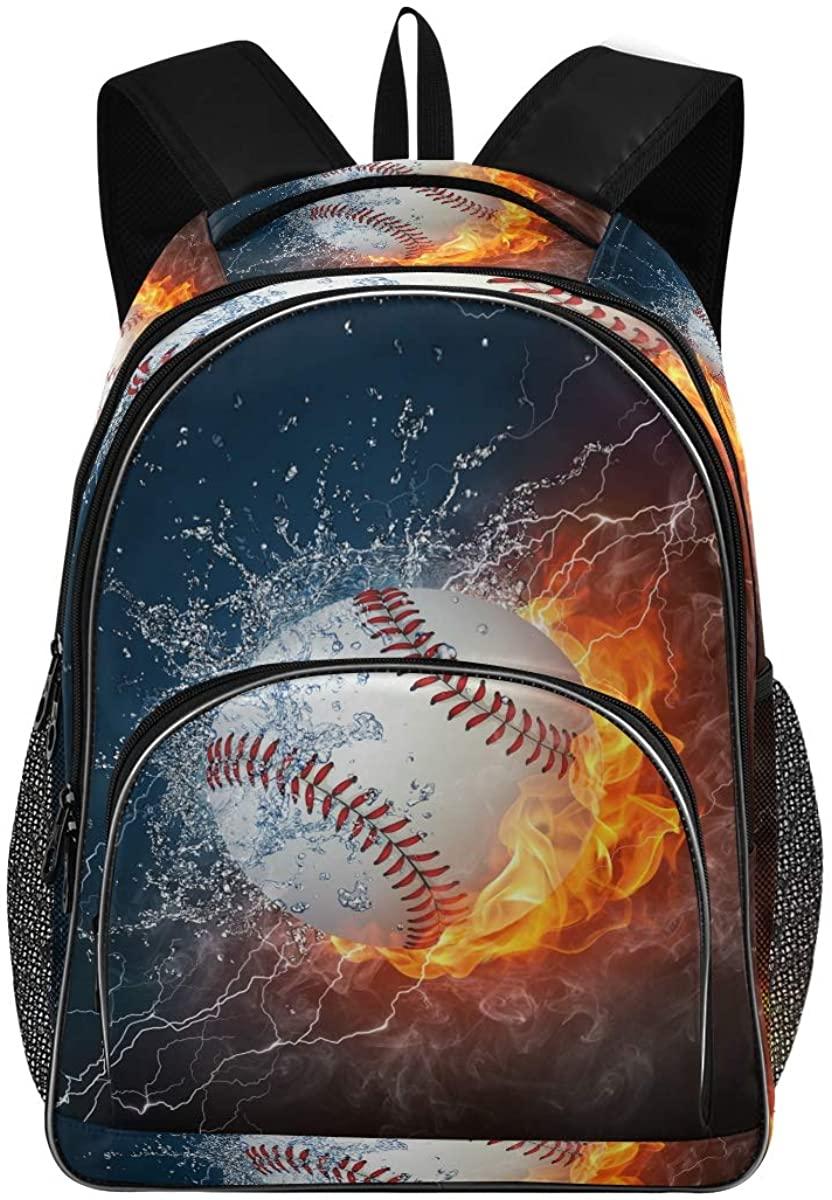 Baseball Water Fire New Backpack for School Teenagers Girls Boys Travel Bag(623n)