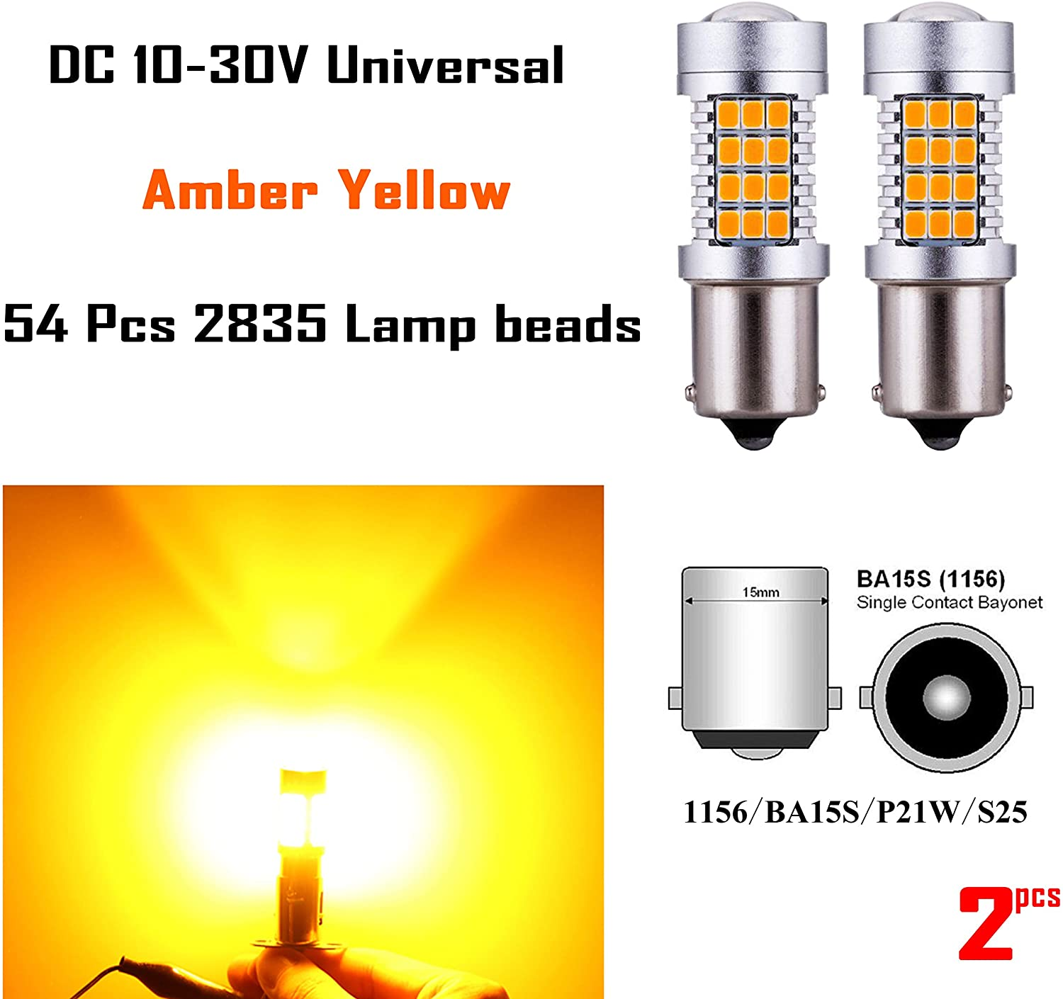AKKI 2pcs 1156 LED Bulbs with Projector Lens 12V 24V Extremely Super Bright 54-2835 Chipset 1141 1003 1073 BA15S 7506 for Car Turn Signal Blinker Lights, Amber Yellow