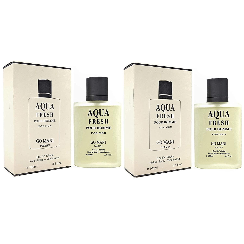 J&H 2 Pack - AQUA FRESH Cologne, Eau De Toilette Spray for Men, Wonderful Gift, Masculine Fragrance,Daytime & Casual Use, for all Skin Types,a Classic Bottle, 3.4 Fluid Ounce