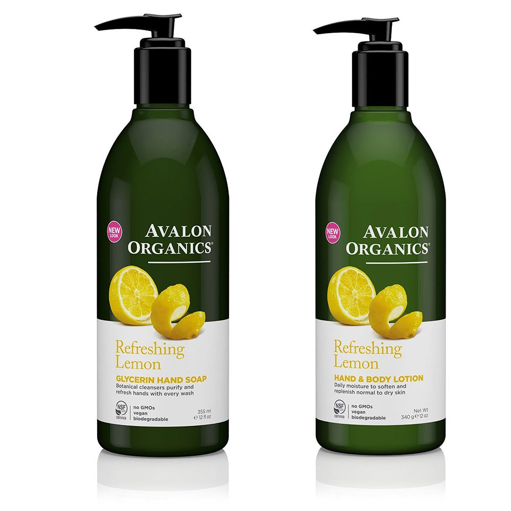 Avalon Organics Refreshing Glycerin Lemon Hand Soap and Hand & Body Lotion Bundle With Aloe, Plant Lipids, Beta-Glucan, Calendula and Vitamin E, 12 fl. oz. each