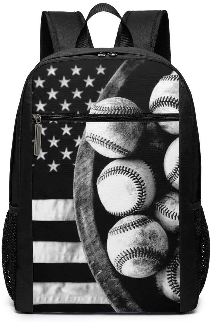 Baseball USA Flag Women & Men 17 Inch Classic Polyester Backpack School Bag Outdoor Rucksack Camping Travel Laptop Backpack