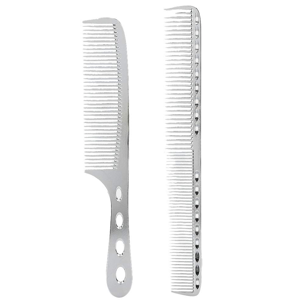 Hair Combs, Portable Stainless Steel Anti‑Static Styling Hairdressing Comb Hair Barber Comb Rat Tail Comb for Long Hair (Black)(Silver)