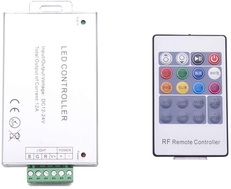 Othmro DC 12V-24V 12A 288W 20 Key RF Remote Controller for RGB LED Strip 5050 3528 SMD 1PCS