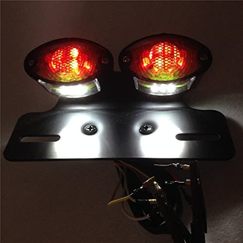 XKMT-Universal Cat Eye Custom Tail Brake License Plate light BLACK CLEAR [B00YYSCIFE]