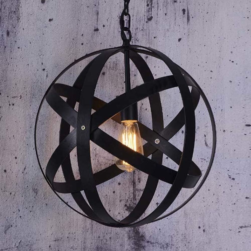 KWOKING Lighting Industrial Metal Spherical Pendant Light with Globe Shade Adjustable Hanging Lighting Fixture Black