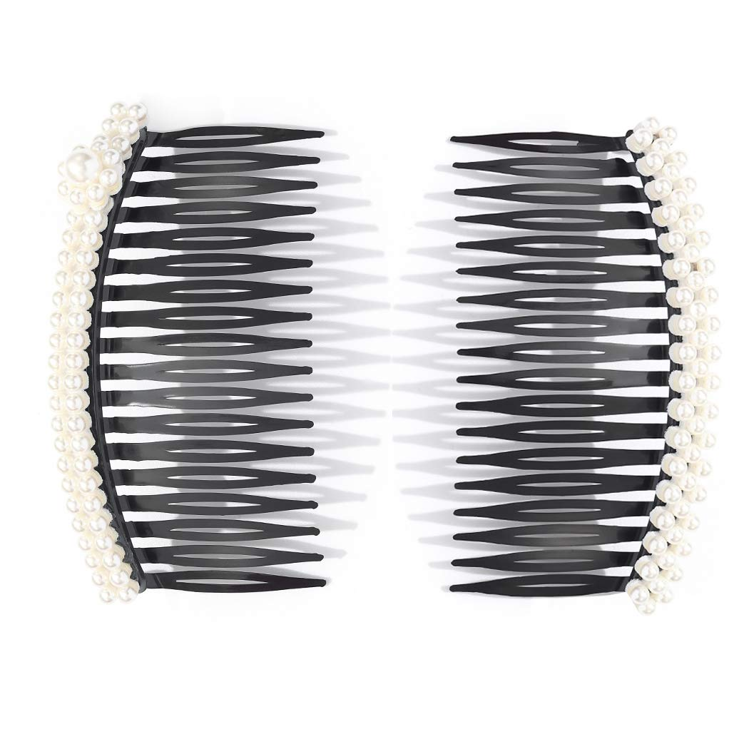 JONKY Fashion Double row pearls Hair Side Combs Clips Plastic Large Side Combs Clips Hair Accessories Hair Tools Unbreakable Decorative Combs Best Gift Party Daily for Women and Girls (Pack of 2)