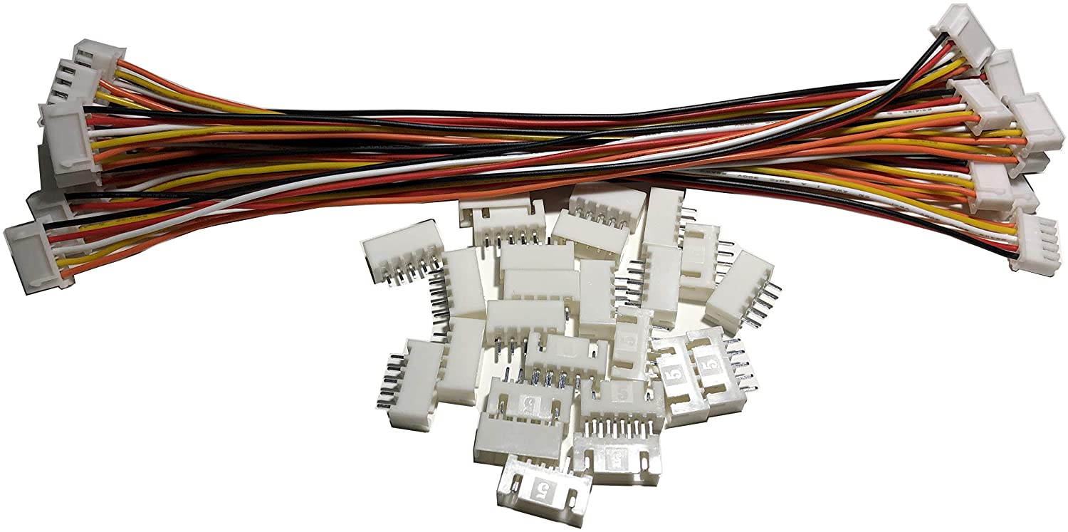 12 PCS 5 PIN JST XH Female Connector on Both Side - 200mm 1007 26 AWG & 24 PCS 5 PIN JST XH Male Connector