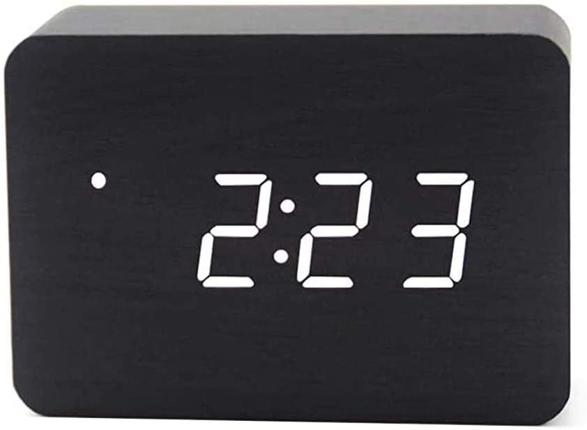 OFLILAK Wooden Digital Alarm Clock for Bedrooms, 4 Level Adjustable Brightness and Voice Control, Display Time Temperature Date for Bedroom Office Home(Black)