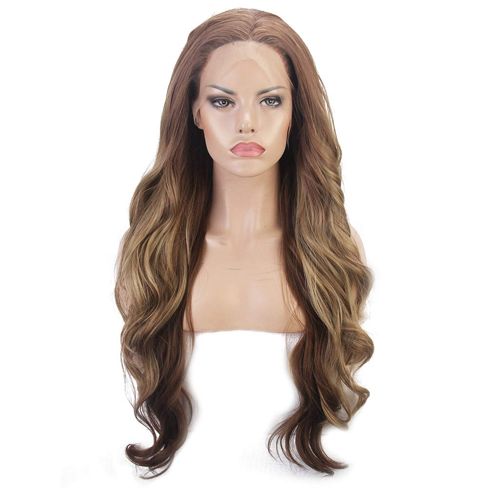 FSLWIGS Blonde Wig Light Brown Hair Roots Long Curly Synthetic Lace Front Wigs Natural Looking Heat Resistant Fiber Hair Wigs For Women