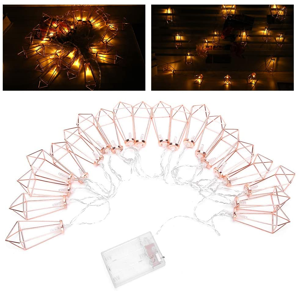 Gojiny 20 LEDs Rose Gold Geometric Metal Diamond Shape Copper Wire Fairy String Lights Metal Cage String Lights Battery Operated for Chirstmas, Wedding, Garden Home Decor