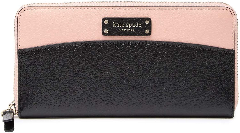 Kate Spade New York Laurel Way Neda Saffiano Leather Zip Around Wallet (Warm Vellum Black)