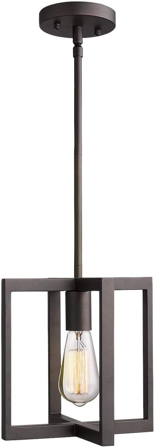 Emliviar 1-Light Hanging Pendant Light, Industrial Pendant Light Fixture, Square Metal Cage in Oil Rubbed Bronze Finish, 2A2-D1 ORB