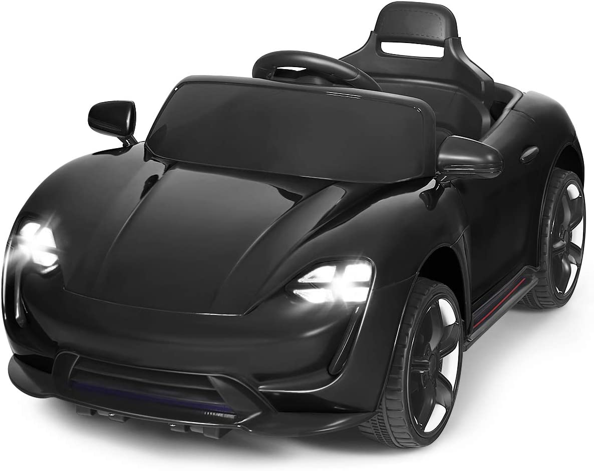 Costzon Ride On Car, 12V Battery Powered Ride on Toy w/ 2 Motors, 2.4G Remote Control, Front/Rear LED Lights, MP3, Horn, Music, 2 Doors Open, Spring Suspension, Electric Vehicle for Kids (Black)