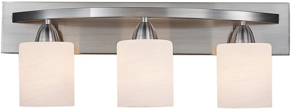 ANJIADENGSHI Bathroom Vanity Lamp Sand Nickel Wall Mounted Vanity Lighting Fixture with White Glass Shade Wall Sconce Pendant Lamp (Nickel, 3E26)