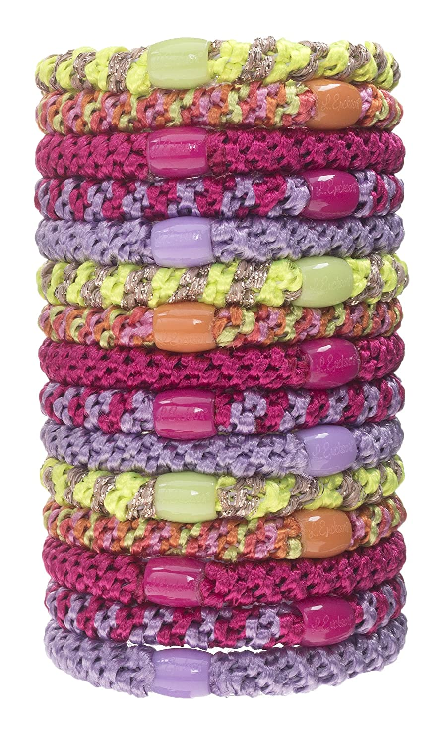 L. Erickson Grab & Go Ponytail Holders, Tahiti, Set of Fifteen - Exceptionally Secure with Gentle Hold