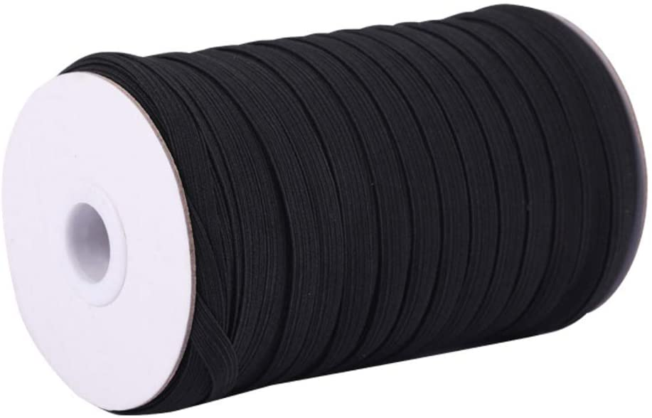200 Yards Black 1/4 Width Elastic Cord Braided Elastic Bands Elastic Rope Heavy Stretch Elastic Spool Knit for Sewing, Masks, DIY, Bedspread