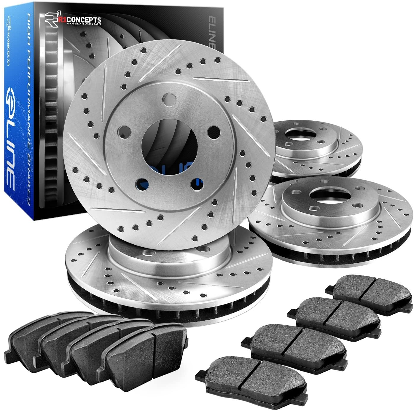 R1Concepts CEDS11124 Eline Series Cross-Drilled Slotted Rotors And Ceramic Pads