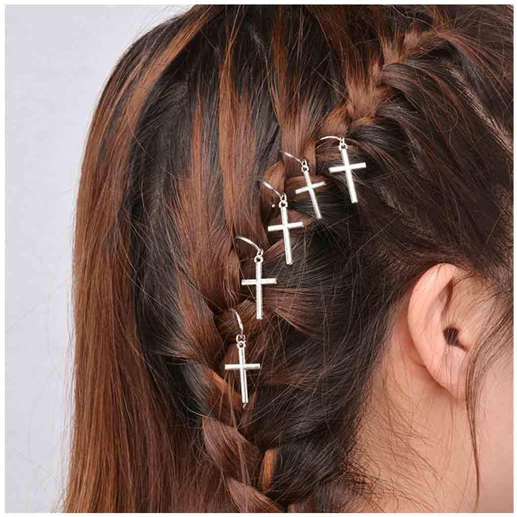 Olbye Dreadlock Hair Rings Silver Cross Hair Braid Rings Hair Loops Clips Religious Braid Hair Loop Accessories for Women and Girls