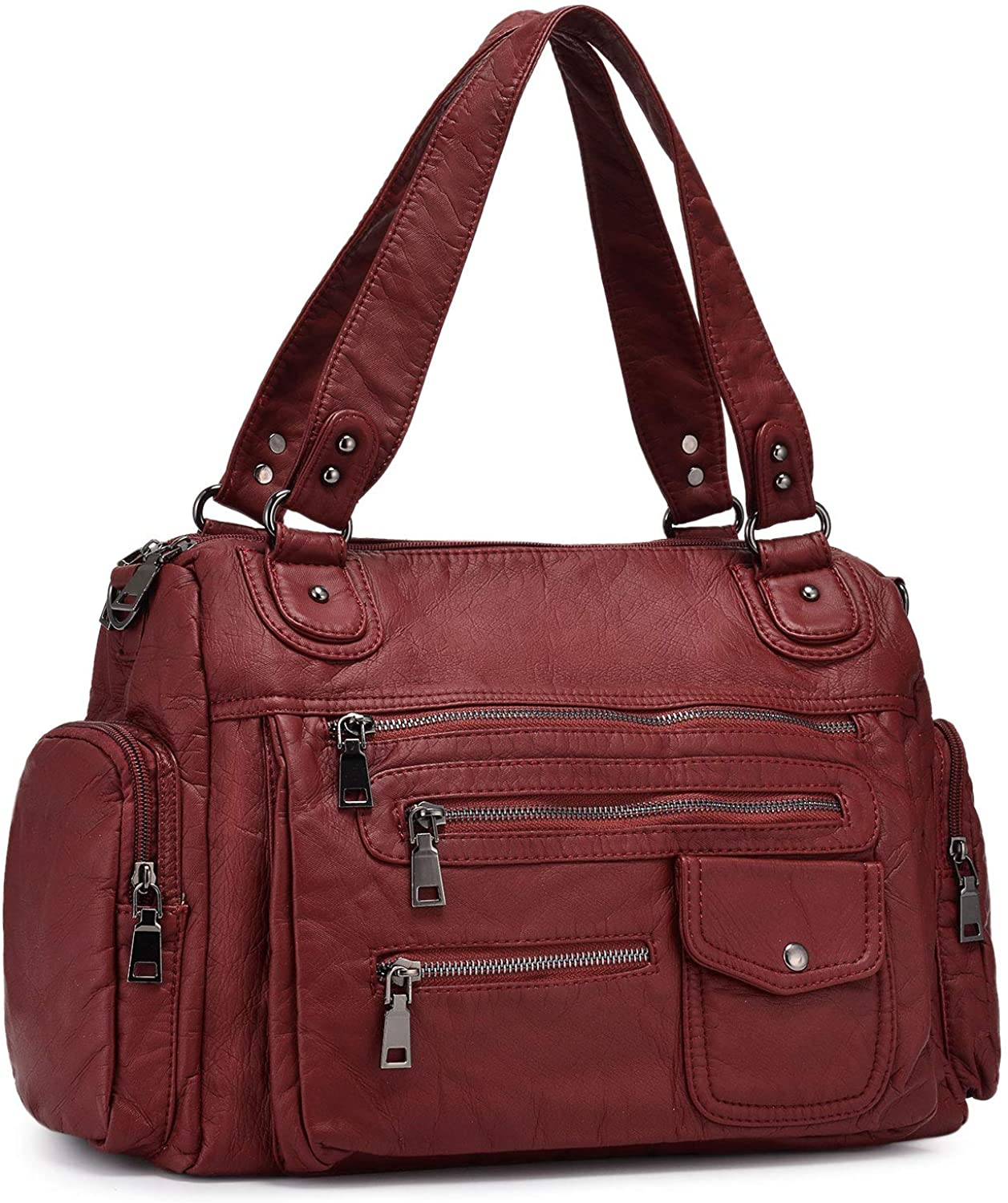 BAIGIO Women Tote Purses Roomy Washed Leather Bag Multiple Pockets Functional Satchel Shoulder Bags for Ladies