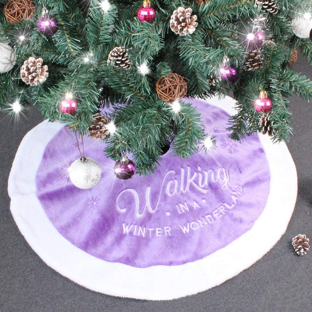 wonuu Christmas Tree Skirt for Merry Christmas Party Faux Fur Christmas White Tree Skirt Decorations (36 Purple)