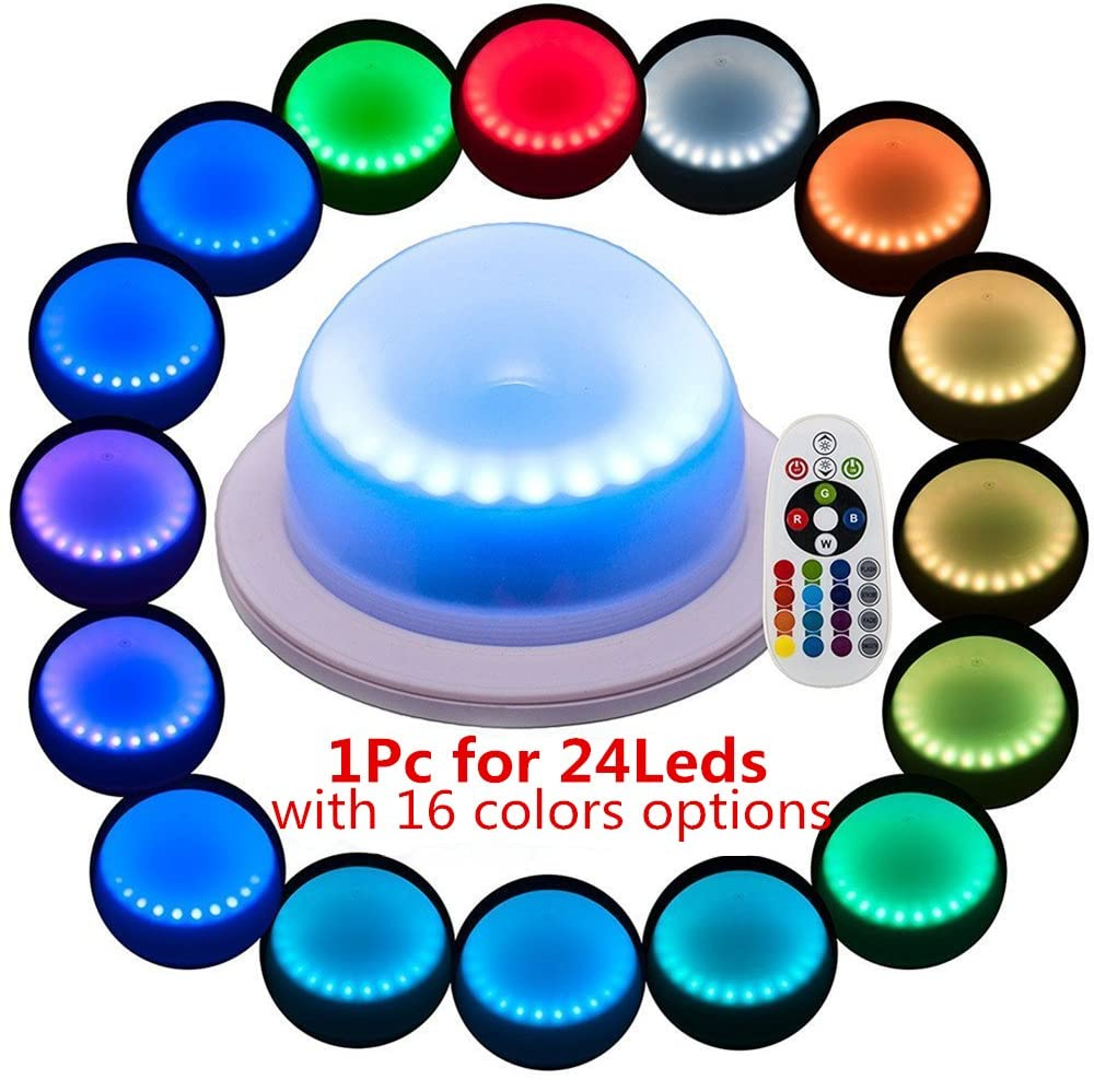 ARDUX Remote Control LED Rechargable Waterproof Decoration LED Base Lights with 16 Colors Color-changing for Under Table Party Event Birthday Outdoor Indoor (1Pcs)
