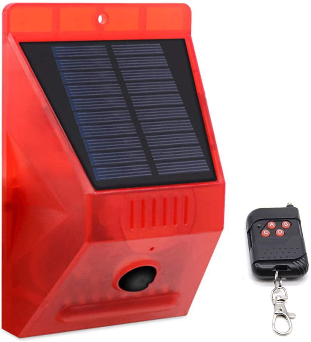 HelloCreate Solar Alarm Lamp, Solar Sound Light Alarm Motion Sensor 129dB Siren Sound Alert Strobe Warning Light with Remote Control