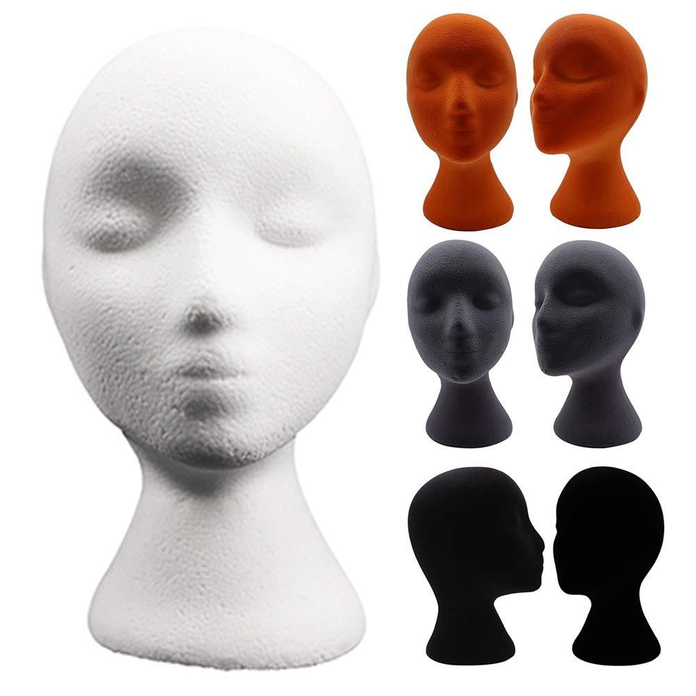 BESUFY Styrofoam Head,Wig Head Display Foam Head for Glasses Hat Hairpieces Stand Female Styling Flocking Foam Head Mold Wig Holder DIY Headwear Display Model