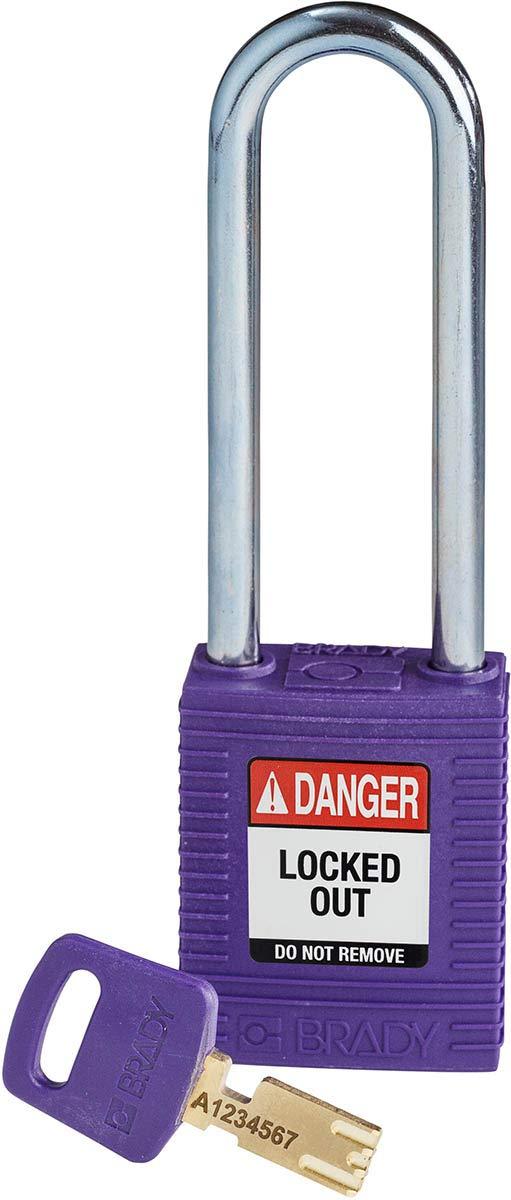 Brady SafeKey Lockout Padlock - Nylon - Purple - 3.0