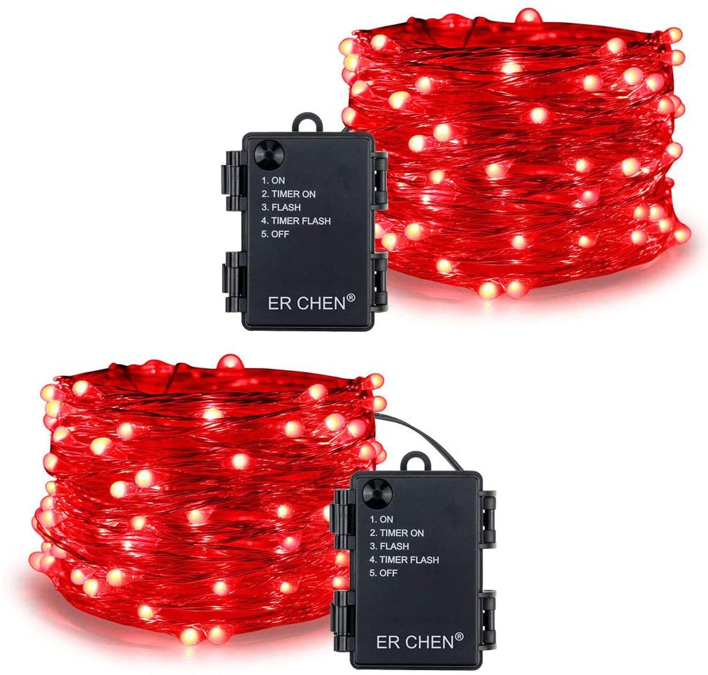 ER CHEN 33 Ft 100 LED String Lights Battery Operated Christmas Lights with Timer, Waterproof Copper Wire Red Firefly Twinkle Fairy Lights for Party Bedroom Wedding (2 Pack)