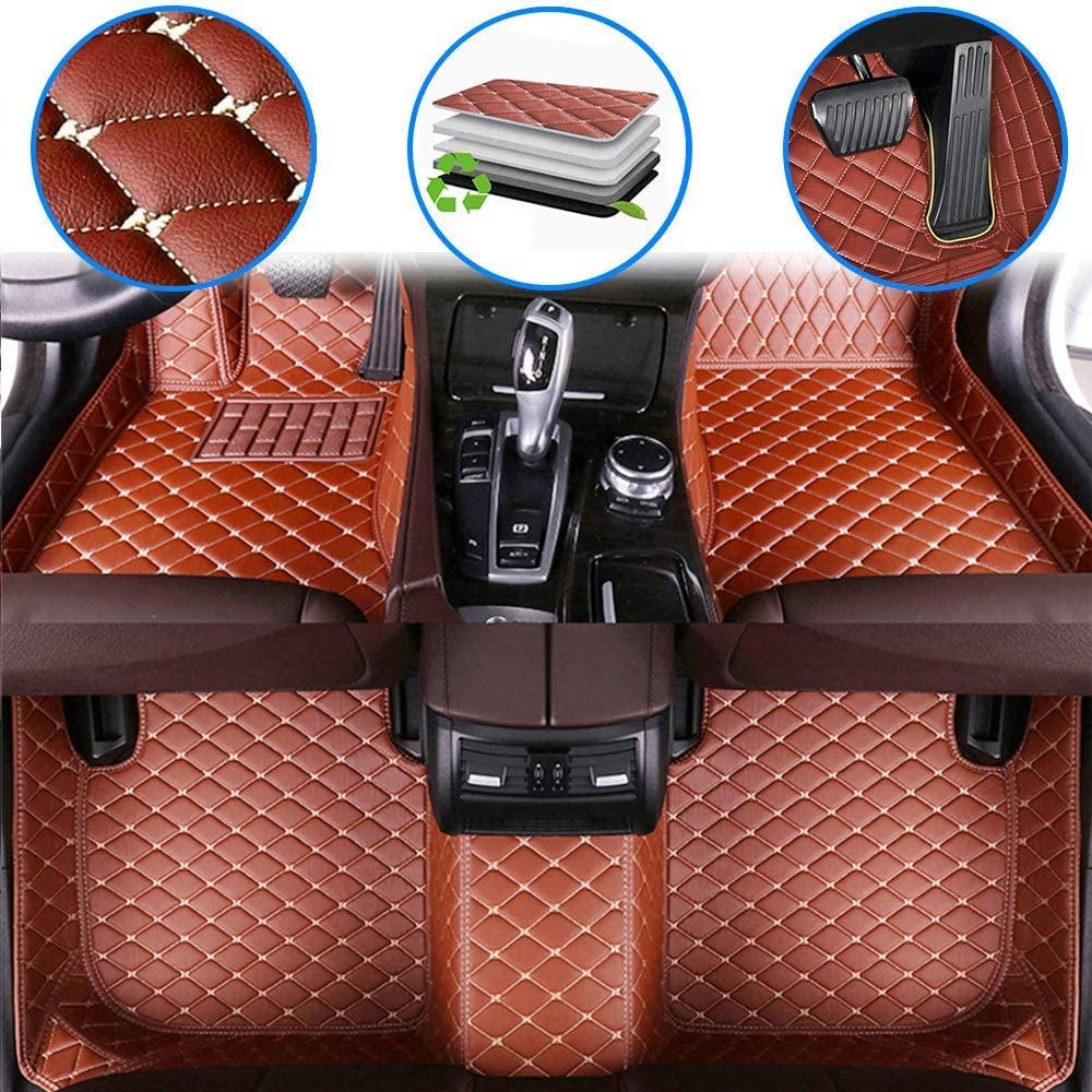 WANLING Car Custom Floor Mats for Cadillac DTS 2006-2011 Luxury Leather Waterproof Non-Slip Full Coverage Floor Liner Full Set (Brown)