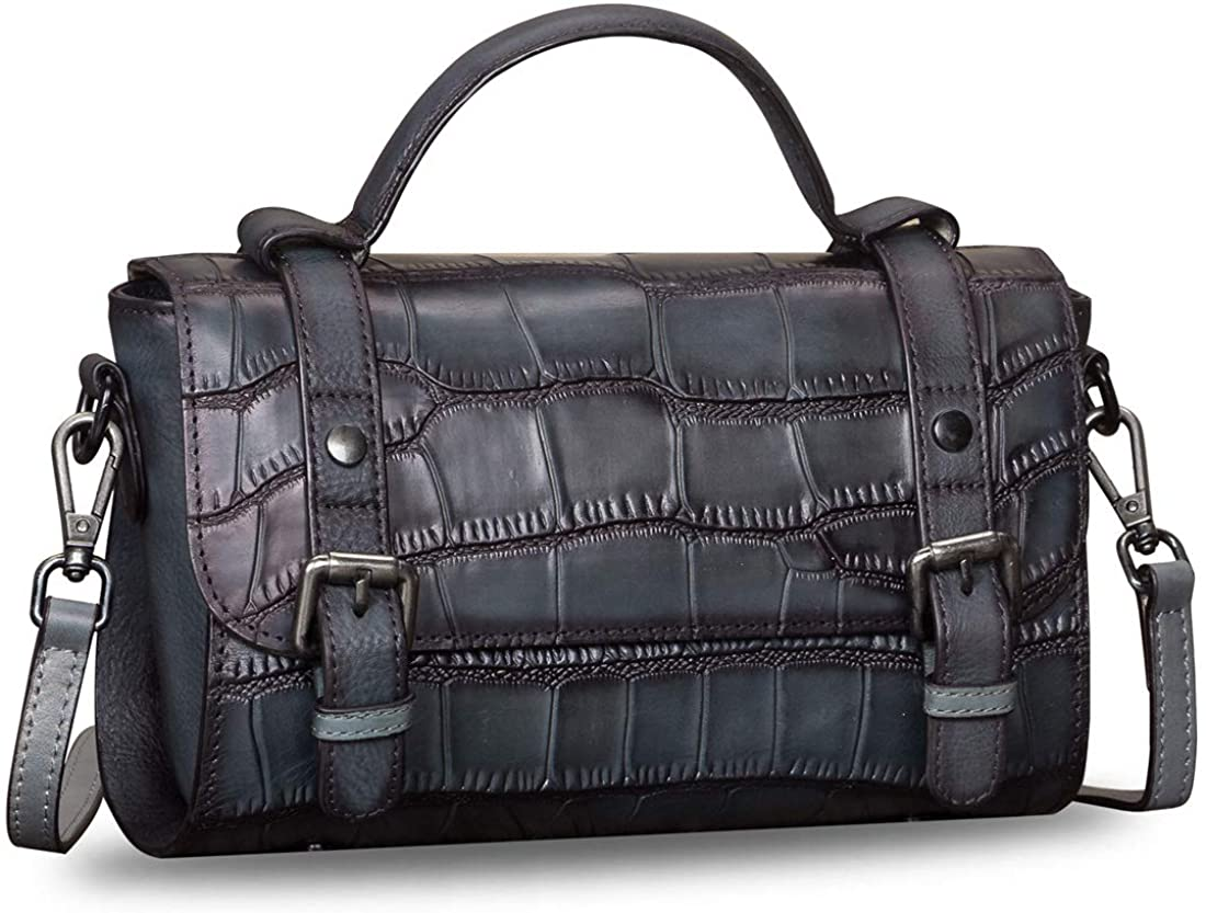Genuine Leather Crossbody Bag for Women Vintage Handmade Top Handle Small Handbag Satchel Purses