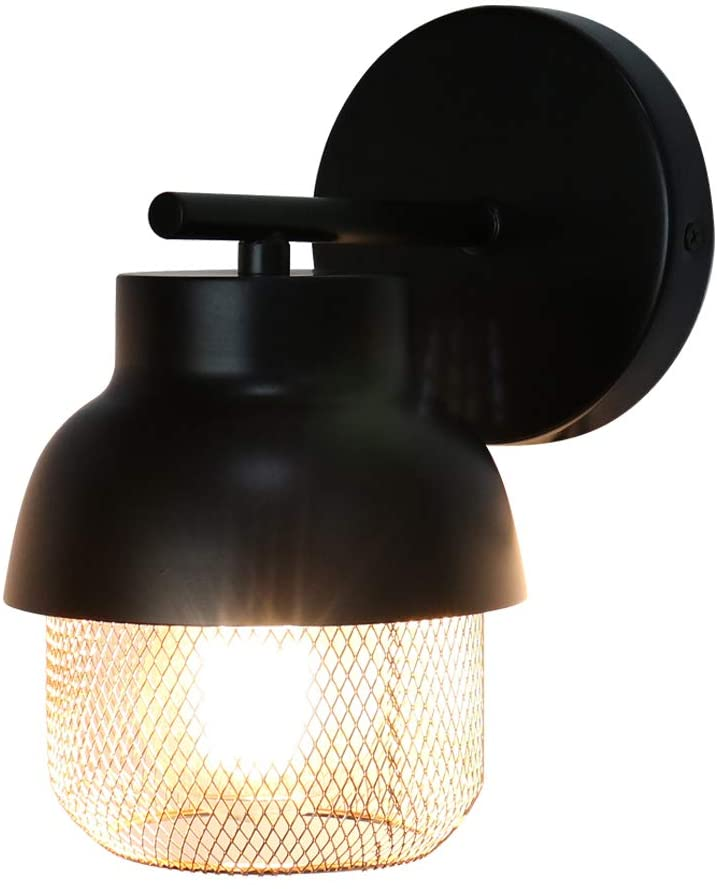 MONKFISH Wall Sconce 1-Light with Shade for Bathroom Bedroom Stair Cafe, UL Listed (WS37-BK)