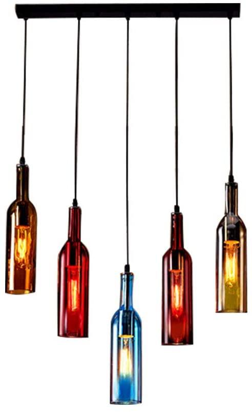 Gdrasuya10 Colorful Beer Bottle Chandelier, Glass Ceiling Lights Vintage Pendant Lamp Glass Lampshade Lighting Fixture Hanging Lamp Height Adjustable (5-Head Rectangle Shape)