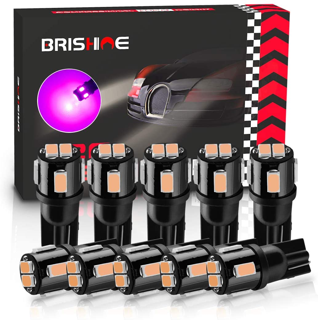 BRISHINE 194 LED Bulbs Extremely Bright Purple 5630 Chipsets 168 2825 175 T19 W5W LED Replacement Bulbs for Car Interior Dome Map Door Courtesy Trunk License Plate Lights(Pack of 10)