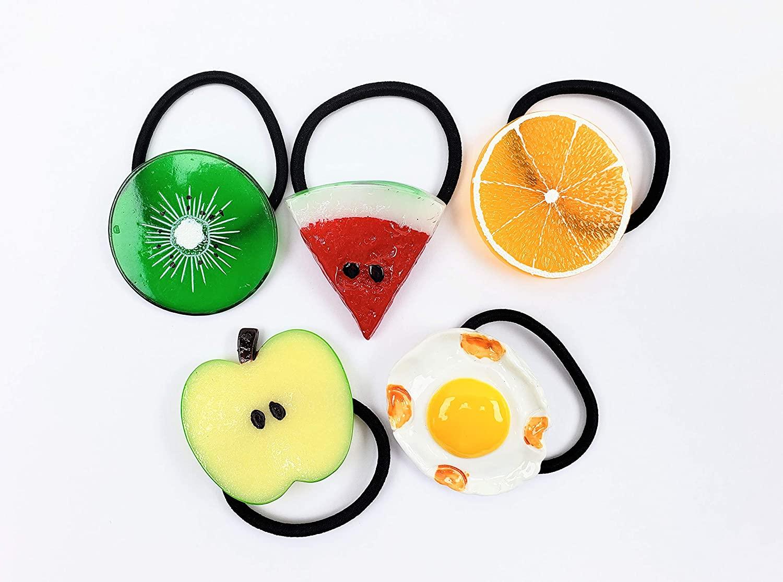 Set Of 7pcs Elastic Hair Ties Fruit Slice Multi Patterns Hair Accessories Girl Women