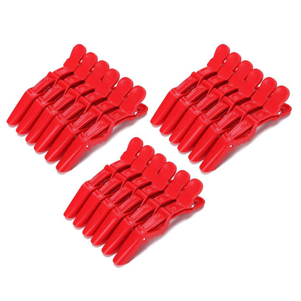 LWNOOH 20 Pieces Hairdressing Salon Clips, Nonslip No Crease Crocodile Hair Clip, Deep Teeth Hair Sectioning Duck Bill Clips Clamp for Hair Salon Barber Stylist (4.3inch Red)
