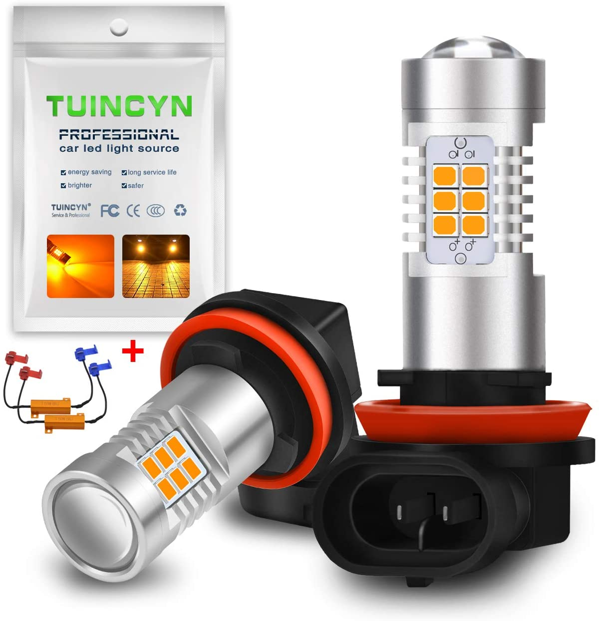 TUINCYN Amber H11 H8 LED Fog Light Bulb Canbus Error Free DRL Lamp Replacement 2835 21SMD 6500K Extremely Bright Led Car Driving Daytime Running Lights 10.5W DC 12V (2-Pack)