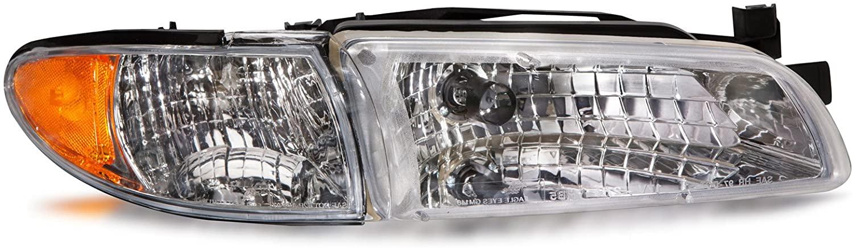 HEADLIGHTSDEPOT Chrome Housing Halogen Headlight Compatible with Pontiac Grand Prix 1997-2003 Includes Right Passenger Side Headlamp
