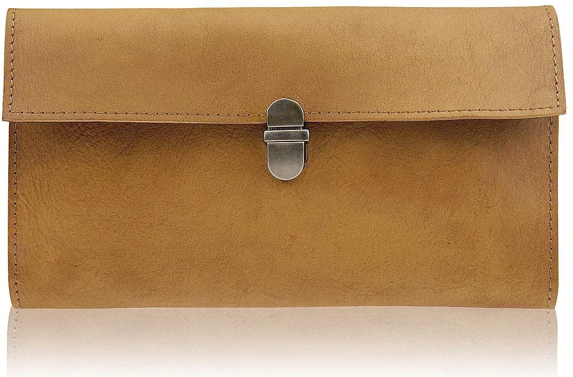 Women's Slim Wallet Vintage Leather Cellphone Wallets Organizer (Brown)