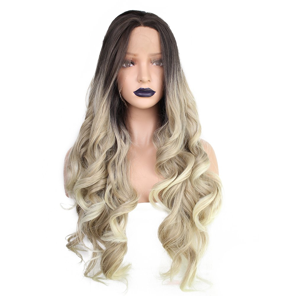 Anogol Hair Cap+Blonde Lace Front Wig with Dark Roots Two Tone Lace Front Wig Body Wave with Middle Part Synthetic Wig Lace Front for Women 20 Inches