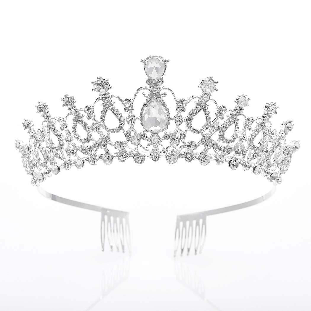 Asooll Bride Baroque Queen Silver Crown Bride Crowns and Tiaras with Cyrstal Rhinestone Bridal Headband for Women and Girls