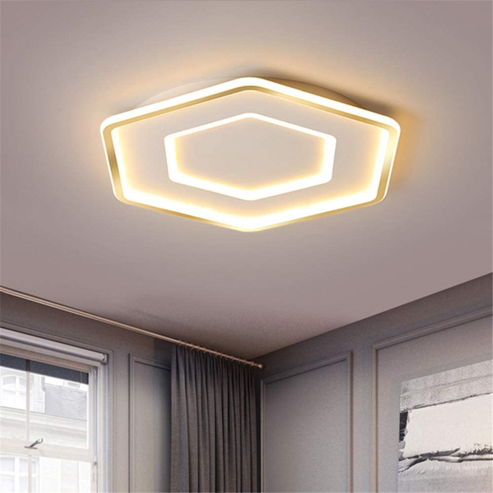 NIUYAO Ceiling Light Acrylic Hexagon Shape Minimalism Modern LED Semi Flush Mount Lighting Fixture Simplicity Indoor Decoration -Golden Edge