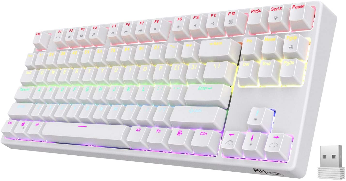 RK ROYAL KLUDGE Sink87G Wireless TKL Mechanical Gaming Keyboard, No Numpad Compact 2.4G RGB Wireless Keyboard with Tactile Brown Switches, Diversified RGB and Exceptional Macro Settings