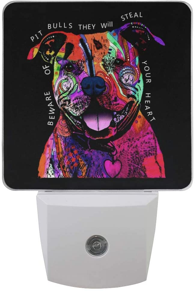 Set of 2 Watercolor Pit Bulldog Auto Sensor LED Night Lights Plug-in Nightlight with Dusk to Dawn Sensor Soft White Glow for Kids Adults Room, Hallway Bathroom Kitchen