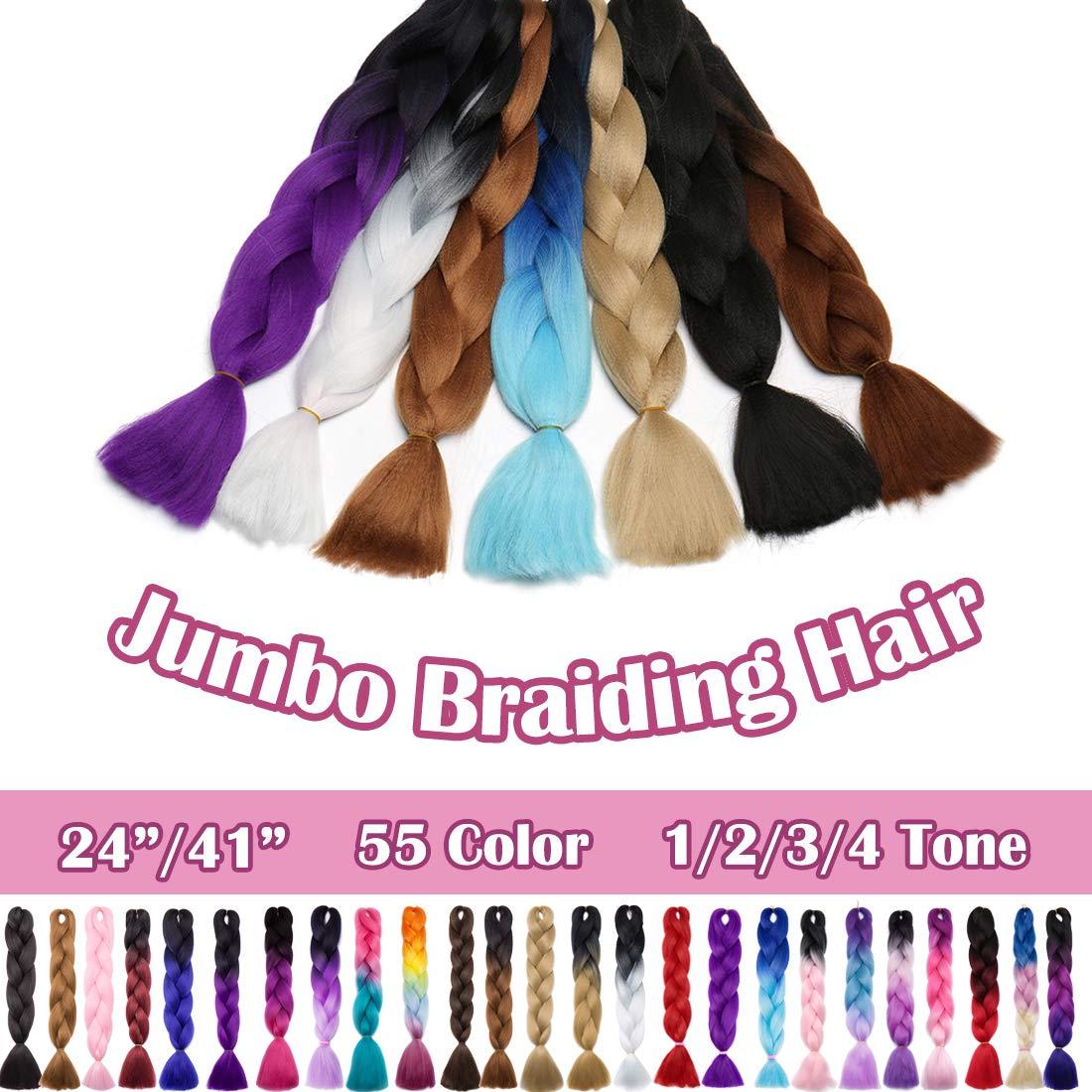 SEGO 24 Inch Ombre Jumbo Braiding Hair Jumbo Braid Hair Extensions Long Jumbo Braids for Box Braids Crochet Hair High Temperature Synthetic Fiber 2 Tone Colored Black/Dark Purple 3 Bundle