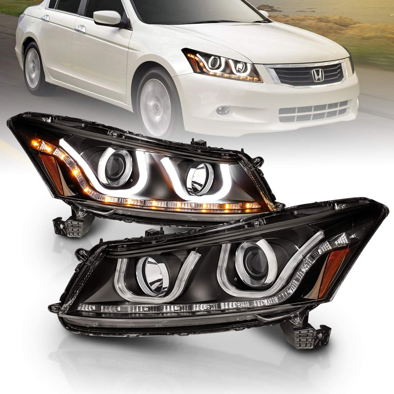 AmeriLite Black Projector Headlights Bar Style for Honda Accord - Passenger and Driver Side
