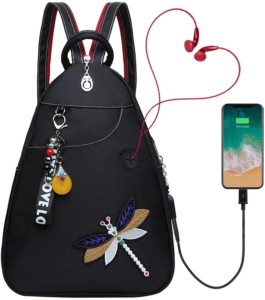 Eshow Women's Ladies Oxford Handbag Shoulder Bag Casual Backpack Hobo Daily Purse Shopper Tote Large Capacity Bags (black-3209)