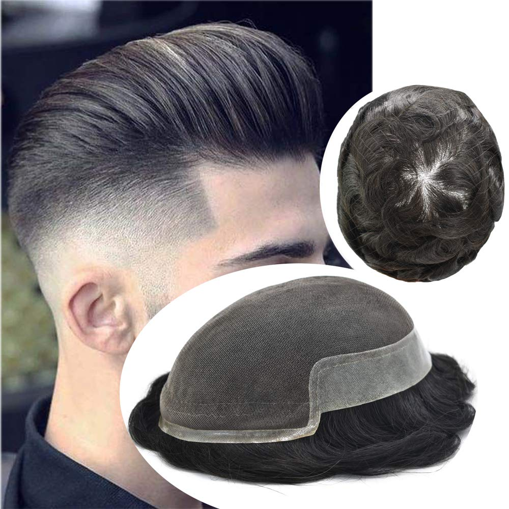 French Lace Front Mens Toupee Hairpiece Skin PU Hair System BX2 with Real Natural Lace (810