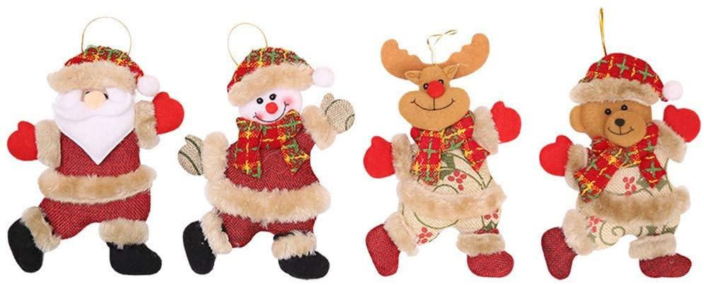 Crazypig 4Pcs Christmas Ornaments Gift Santa Claus Snowman Toy Doll Christmas Tree Cute Hang Decorations